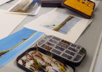 Hand-tied flies, watercolors, sketchbooks