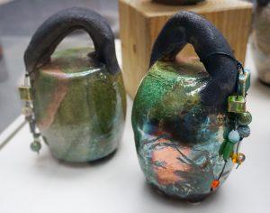 Green Raku Jugs by Lynne Sarnoff-Christensen
